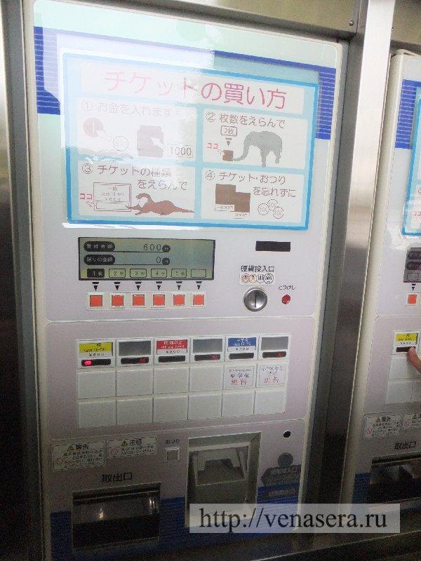 Аппарат с билетами на входе в зоопарк