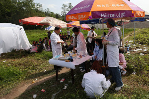 Medical personnel offer help to local residents