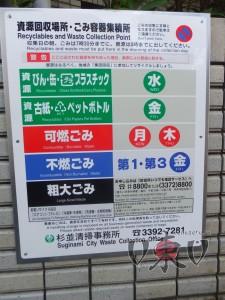 Расписание сбора мусора. Токио.